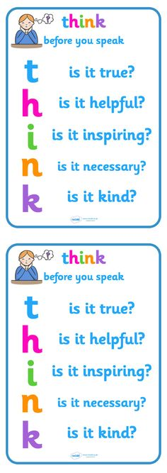 Twinkl Resources >> Think Before You Speak Poster  >> Thousands of printable primary teaching resources for EYFS, KS1, KS2 and beyond! think before you speak, speaking, poster, classroom management, anti-bullying, think display poster