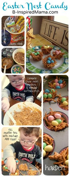 Nest Candy Easter Recipe from B-InspiredMama.com (just butterscotch chips and chow mein noodles or fiber one cereal - EASY!!! ~Leilani)