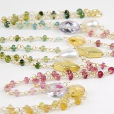 Tourmaline & Gemstone Gold Filled Necklace Multi Colored by agusha, $232.00