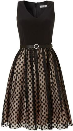 Black Spot Mesh Skirt Dress