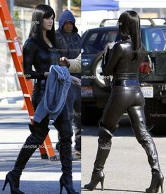 Black Latex Zipped Catsuit worn By Yvonne Strahovski. Buy your Catsuit for dance from DCUK Dance Clothes.