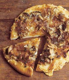 onions, mushroom pizza, fontina, food, pizzas, wild mushrooms, recip, rosemari, caramel onion