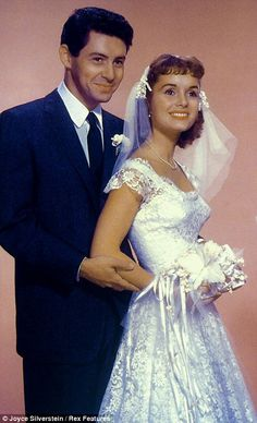 Fisher with Reynolds on their wedding day in 1955, Eddie fisher and Debbie Reynolds
