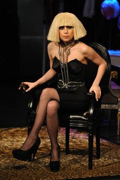 Lady Gaga Medium Straight Cut with Bangs