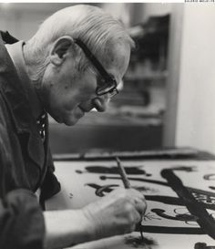 Joan Miró working in the lithography's workshop in Barcelona -nd