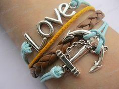 Braceletantique silver anchor braceletlove by infinitywish on Etsy, $8.50