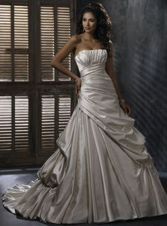 Natural waist Chapel Train Sleeveless Satin Perfect bridal gown