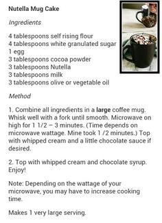 Nutella mug recipe
