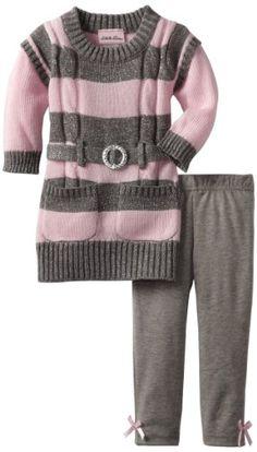 Little Lass Baby-girls Infant 2 Piece Sweater Dress Set, Pink, 18 Months