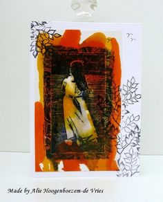 Stamped card with alcohol inks, made by Alie Hoogenboezem-de Vries