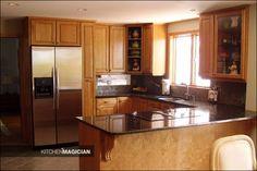 decor, idea, black countertop, countertops, honey oak kitchen cabinets