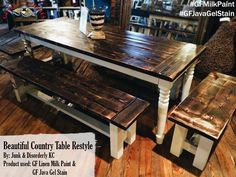 Junk and Disorderly KC, https://www.facebook.com/JUNKandDisorderlyKC?fref=ts refinished this table with General Finishes Linen Milk Paint and Java Gel Stain.We'd love to see your projects made with General Finishes products! Tag us with #GeneralFinishes or share with us through our facebook page.  #gfmilkpaint #javagelstain