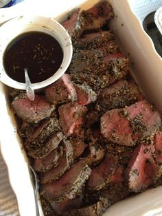 Roasted Beef Tenderloin w/ pepper & caper salsa  This is AMAZING!!