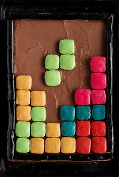 Tetris Cake with Macaroons- Do with Starbursts instead