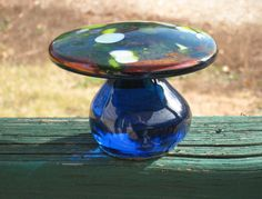 Vintage Art Glass Viking Glass Cobalt MUSHROOM by CookieGrandma60, $39.00