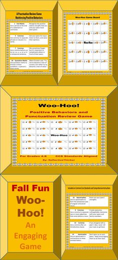 This fall, or autumn themed, fun and engaging Woo-Hoo Positive Behaviors and Punctuation Review Game is appropriate for Grades 4-8.  The game was designed to not only review punctuation rules but also reinforce positive behaviors.  It includes end marks, commas, apostrophes, quotation marks, colons, semicolons, italics, and underlining.  The example sentences in the game for the aforementioned punctuation marks are positive behaviors. #fall #autumn #punctuation #game #fun