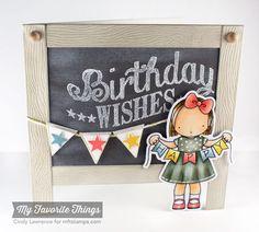 Happy Banner stamp set and Die-namics, Birthday Chalkboard Greetings, Blueprints `7 Die-namics - Cindy Lawrence #mftstamps