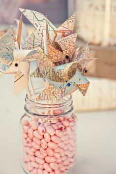 map pinwheels and jelly beans party decor