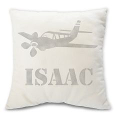 Isaac personalized airplane pillow  decorative by BuyAPillow, $39.95 --- could stencil a plain white pillow case