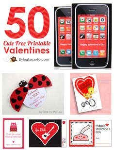 Adorable Designs--> 50 Cute Free Printables for Valentines Day!