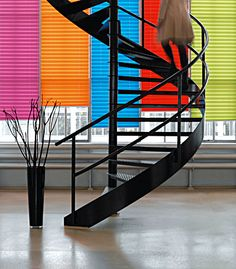 pleat blind, color shade, shades, pleat shade, staircas contemp, window treatment, shade store, spiral staircases, color pleat