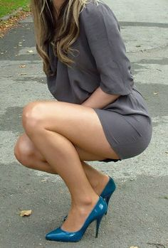 I love my wife; I love this outfit. High heels and a short skirt by definition create a long-legged look, on anyone. Should make a happy husband, if worn with a smile.