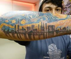 Van Gogh Skyline #tattoos, #tats, #bodyart, https://apps.facebook.com/yangutu