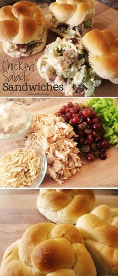 Chicken salad sandwiches... These are similar to my recipe. Only I add a bit of spicy mustard (no miracle whip), dash of red wine vinegar, pecans instead of almonds, apples instead of grapes (but somethimes I do grapes) and onion instead of onion powder. @Robin LeSieur @JaNay Nichols @Angela Nandin