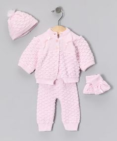 Take a look at this Pink Knit Cardigan Set by Tots Fifth Avenue on #zulily today!