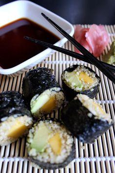 Poppytalk: Learn With Me | Mango + Avocado Quinoa Sushi Rolls.  Would make without mango
