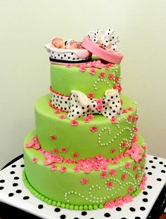 Baby Shower Cake polka dots, baby shower cakes, cake idea, girl baby showers, color, girl cakes, baby girls, baby cakes, babi shower