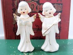 Awe-I remember these in my family.  Vintage Angel Caroling Choir Band Porcelain Figurines Singing Playing Lute Japan | eBay