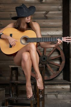 guitar sexy cowgirl