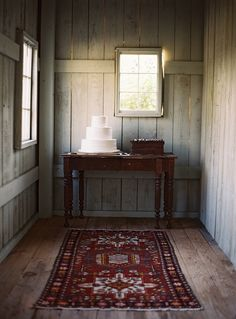 Love the idea of an Oriental or Middle Eastern rug on a rustic country farm house wood floor. #decor #country #chic #farm_house