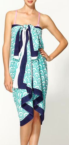 aqua pareo sarong - can be worn as a beach wrap, a dress, a used as a beach towel  http://rstyle.me/n/gsgqrpdpe