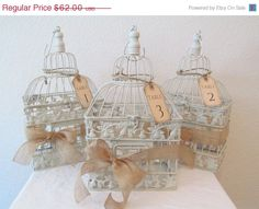 On Sale Wedding Birdcage Centerpieces Set Of by SouthburyTreasures, $58.90