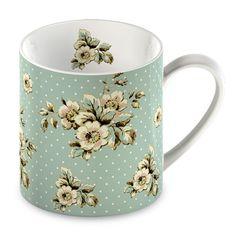 Katie Alice Fine China Barrel Cottage Flower Green Floral Mug