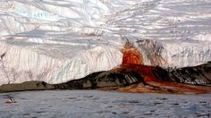 blood falls. The eerie, mysterious blood-red waterfall in Taylor Glacier, Antarctica looks straight out of a horror film, but the red flow is actually caused by a subterranean lake rich in iron.