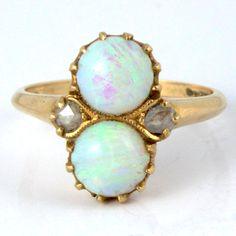 14K Antique Art Nouveau Victorian Fire Opal Rose Cut Diamond Ring.