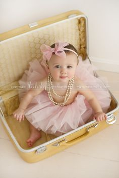 vintage suitcases, 6 months, old suitcases, one year photos, baby girls