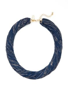 Cara Couture Jewelry - Blue & Gold Multi-Chain Necklace