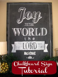 how to get a template onto a chalkboard and then chalk over the template for professional looking lettering!