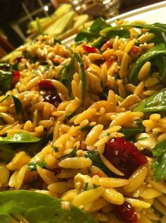orzo pasta salad with dried cranberries, feta, and spinach