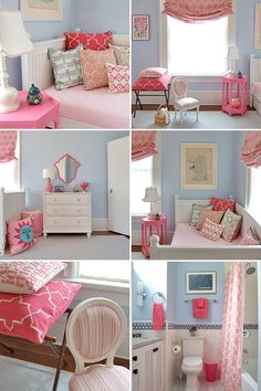 Pink and blue girl's bedroom.