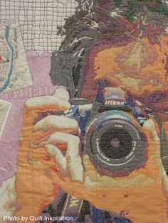"""close up, """"Photographer Darling"""" by Noriko Nozawa (Japan).  Winner of the Fairfield Master Award for Contemporary Artistry, 2013 Houston IQF.  Photo by Quilt Inspiration."""