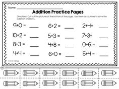 Back To School Themed Addition Worksheets with Counters!  Ready to print math activity that requires no prep and only scissors and pencils for students to complete.  Great morning work, fast finisher or take home activities! $