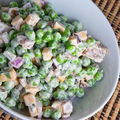 Fresh Pea Salad. I love pea salad and it is simple: peas, mayo, onions, and cheese (and whatever seasoning you want to add)