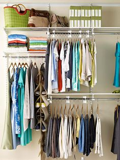 DOUBLE YOUR SPACE. Using double closet rods -- one over the other -- is the best way to squeeze more storage space out of a closet. Be sure to measure the length of each item you'll be hanging there and allow another 6 inches of clearance above and below each rod. Blouses, shirts, skirts, jackets, and kids' clothes will all fit on double rods.