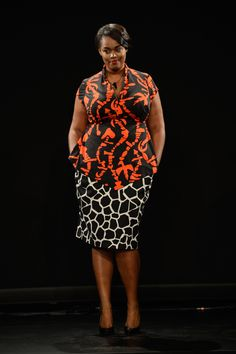 A plus-size look at the Fashion Law Institute fashion show. Credit: Getty
