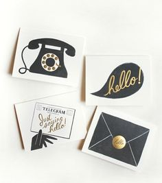 Assorted 'hello' cards depicting 4 different ways to say hello.